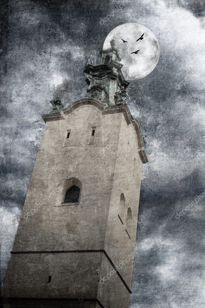 Ancient church in the moonlight in grunge style — Stock Photo #6806811