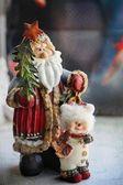 Santa claus and snowman — Stock Photo