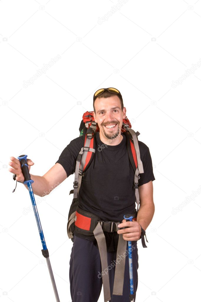 Hiking man isolated on white background — Stock Photo #6835700