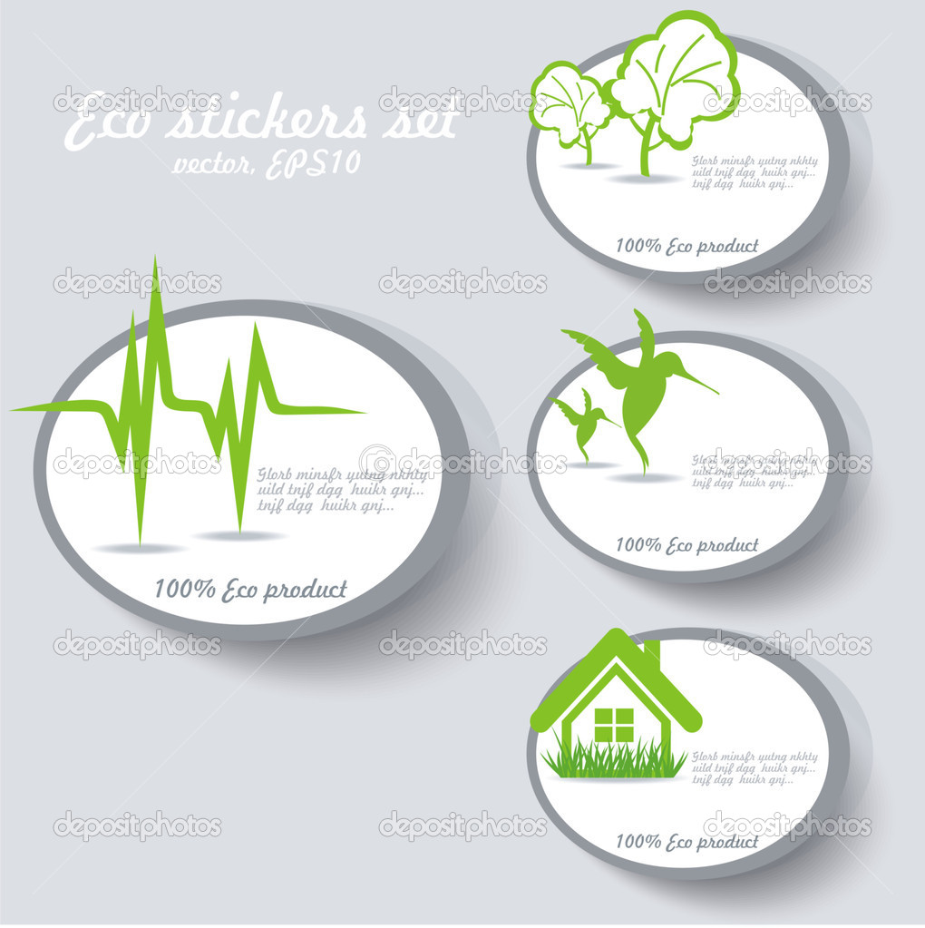 Eco sticker collection — Stock Vector #6958407
