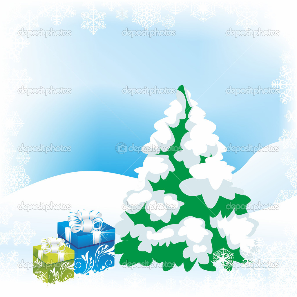 Vector illustration - Christmas tree   Stock Photo #7037487