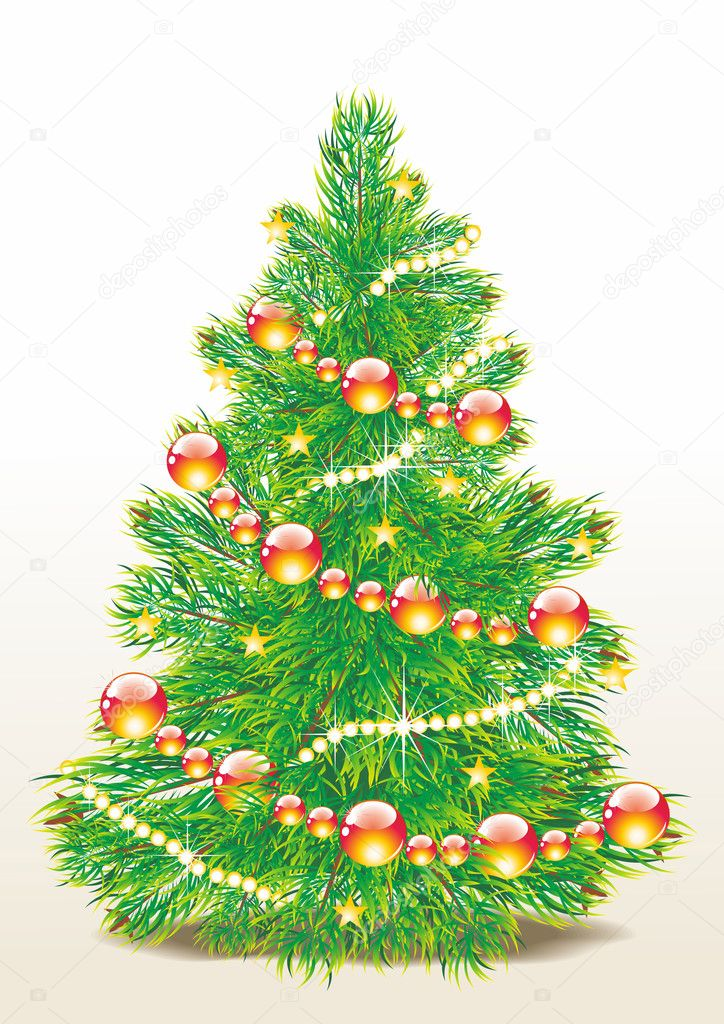Christmas template with swirly tree — Stock Photo #7037502