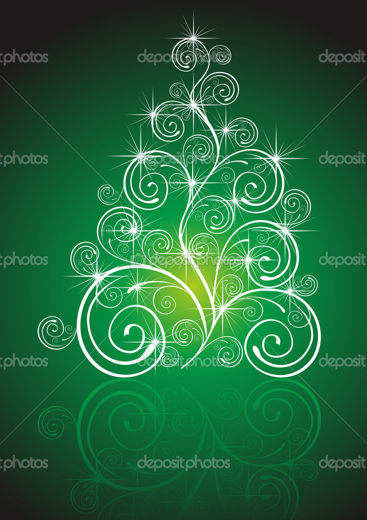 Christmas template with swirly tree — Stock Photo #7037521