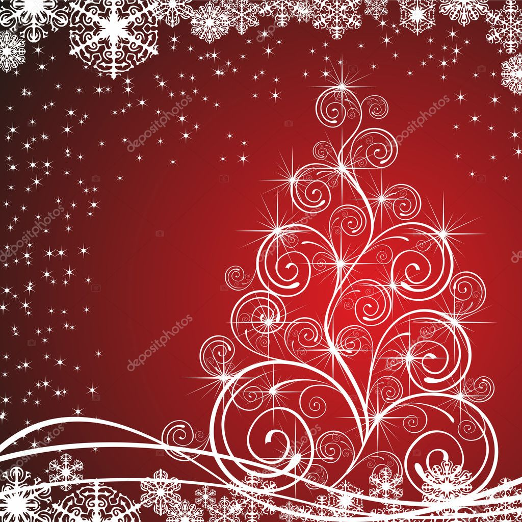 Christmas template with swirly tree — Stock Photo #7037531