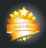 Sterren en gouden lint — Stockvector