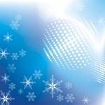 niebieskim tle z płatki śniegu — Wektor stockowy