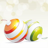 Christmas balls hanging with ribbons — Stock Vector