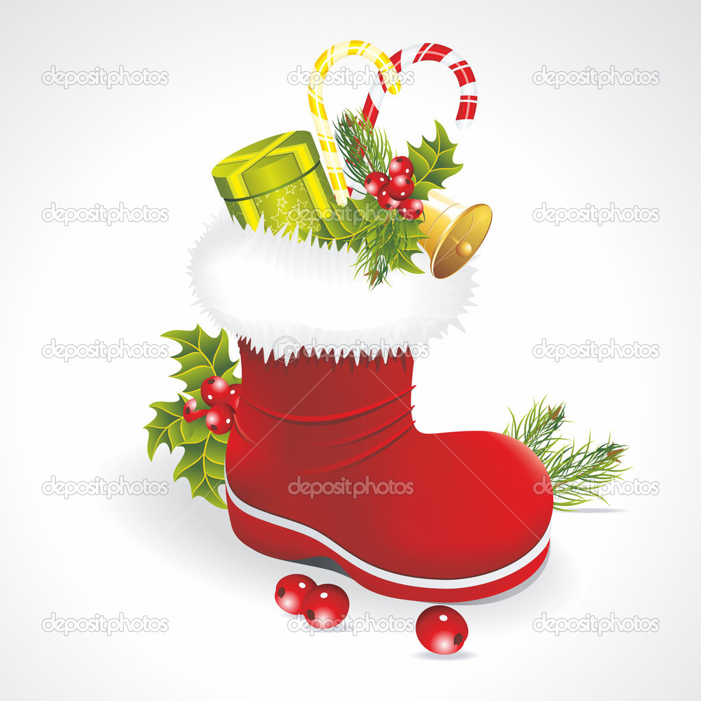 Red Santa's boot with giftbag isolated on white background  Stock Vector #7217175
