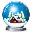 Realistic vector snow globe - Stok Vektr