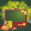 Christmas illustration with TV and gifts - Stock Vector