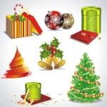 矢量与圣诞符号和对象设置 — 图库矢量图片