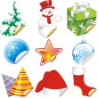Stock Vector: Collection of christmas stickers design elements isolated on White