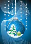 Christmas snow globe with glittering lights around — Stock Vector