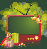 Christmas illustration with TV and gifts — Stock Vector