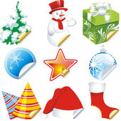 Collection of christmas stickers design elements isolated on White — Cтоковый вектор