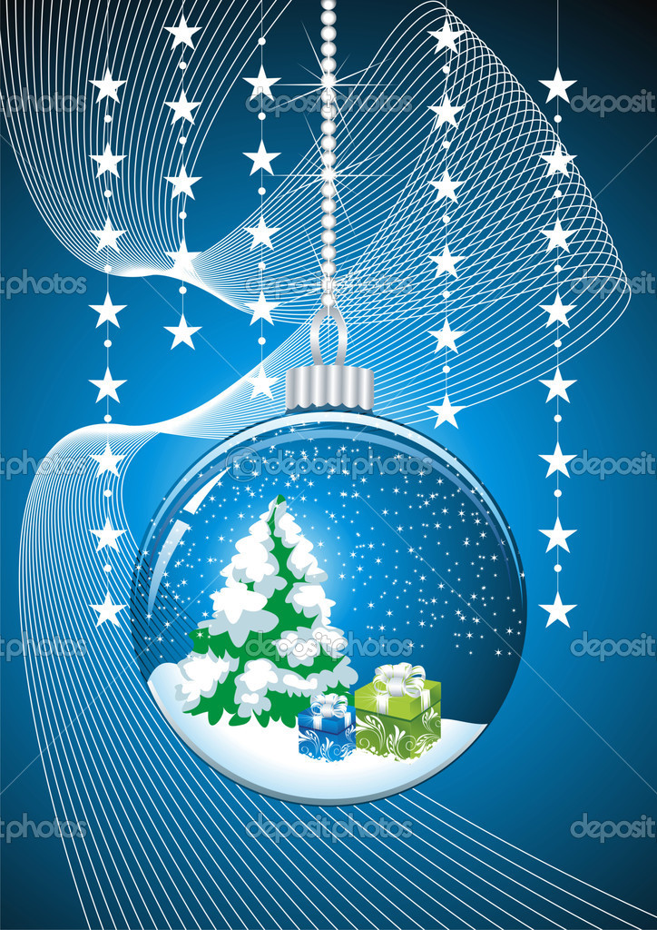 Christmas snow globe with glittering lights around   Stock Vector #7222869