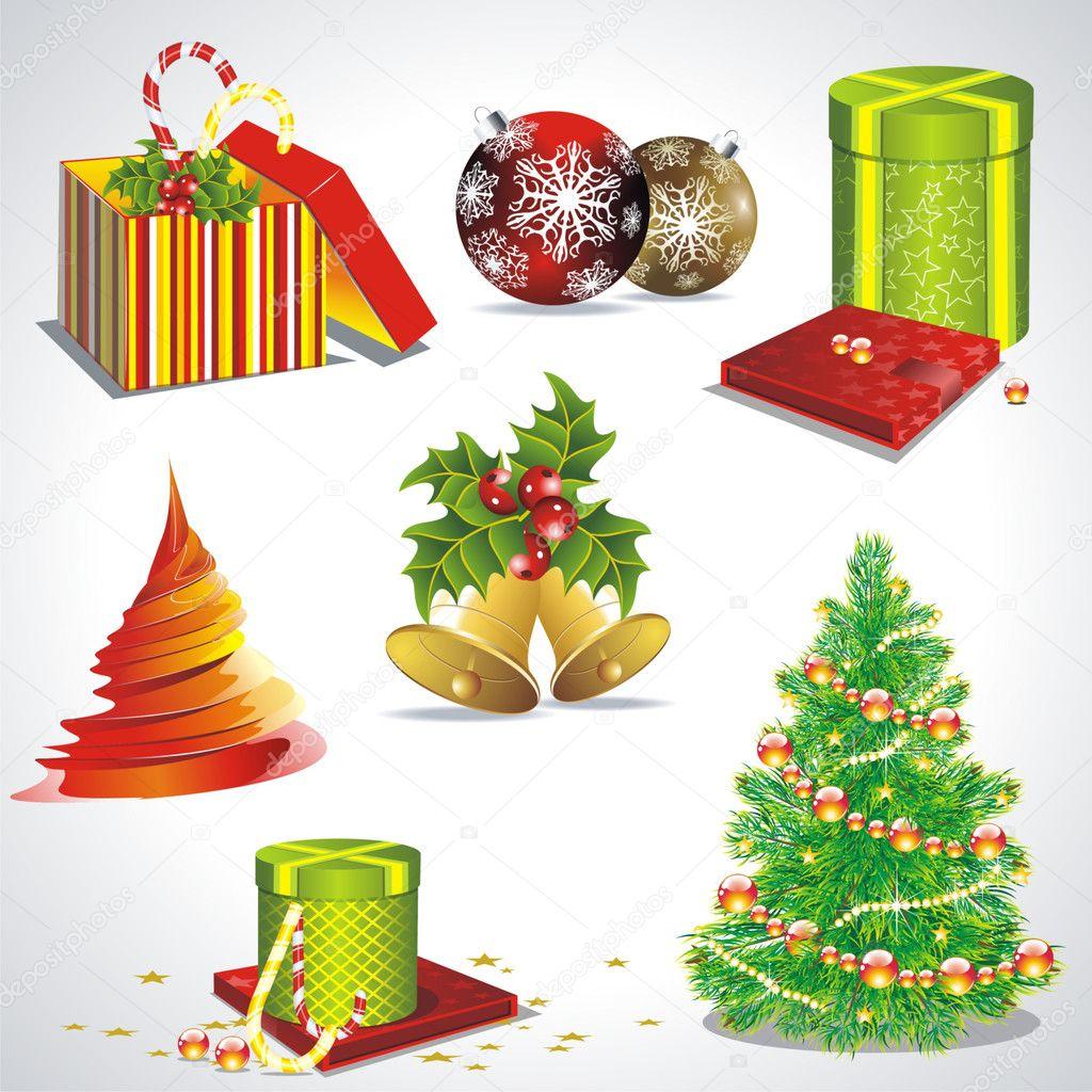 Vector con objetos y s mbolos de la navidad vector de for Objetos de navidad