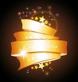 Stars and gold ribbon — Stock Vector