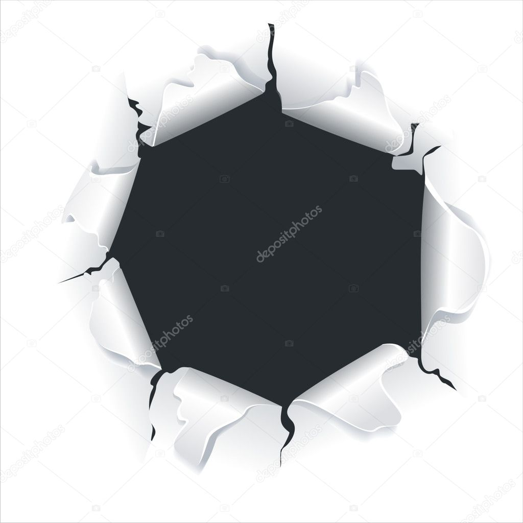 Hole on paper, isolated on white background  — Stock Vector #7397857