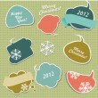 Stock Vector: Christmas stickers in form of speech bubbles.