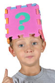 Boy and question mark — Stock Photo