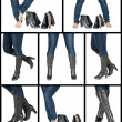 Collage of female legs in boots — Stock Photo