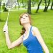 Beautiful Young Woman with Badminton racket — Stock Photo #7072101