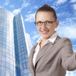 Businesswoman showing his thumb up with smile — Stock Photo