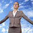 Young woman takes off into the sky — Stock Photo