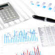 Calculator, pen and business charts, concept — Stock Photo