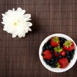 Breakfast Berries on bamboo table — Stock Photo