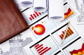 Drawings, charts of growth and daily — Stock Photo