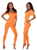Sexy Sporty Girl in Orange Fitness Suit — Stock Photo