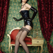 Hot Girl Wearing Sexy Stockings and Long Corset — Stock Photo
