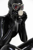 Fetish Black Latex Rubber Catsuit Girl with GasMask — Stock Photo