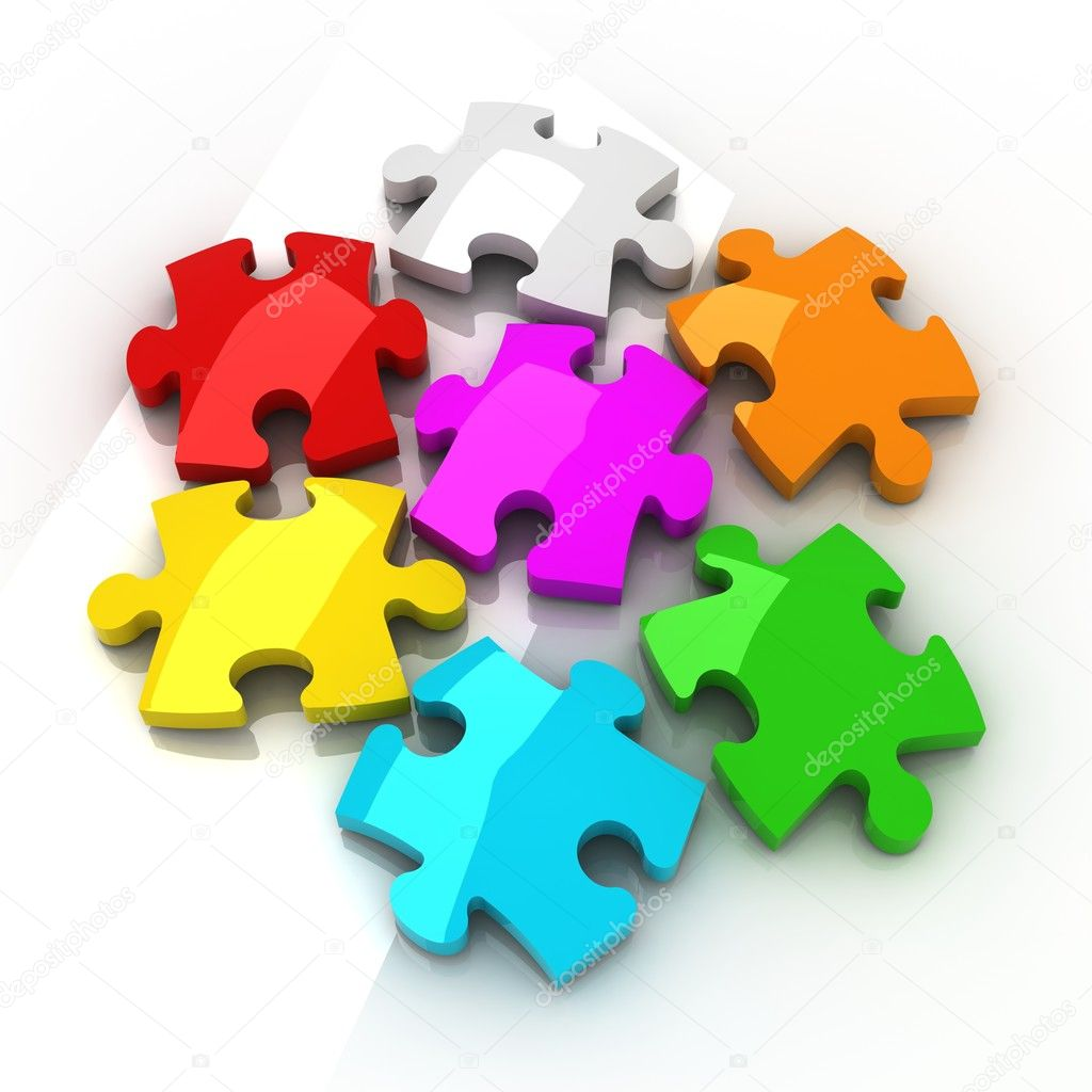 Jigsaw Puzzle on white background with shadow — Stock Photo #6927849