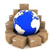 Cardboard boxes around Earth — Stock Photo