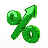 Green sign of percent — Stock Photo