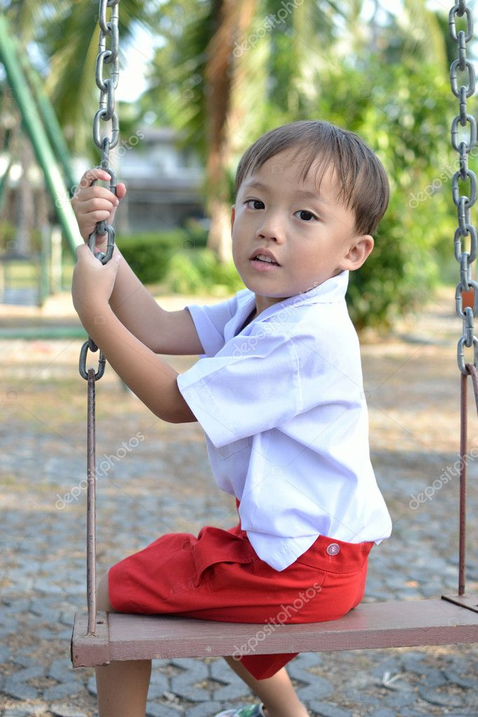 Cute young thai baby with portrait view. — Stock Photo #7292934
