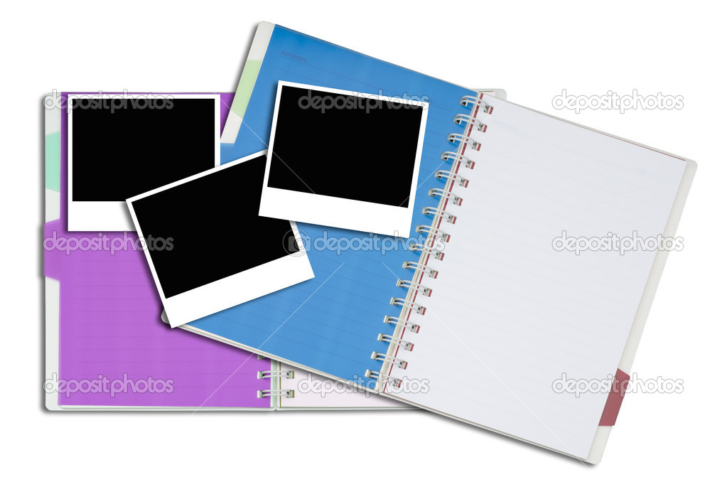 Artwork of notepad and blank photo frame on white nackground.  Stock Photo #7293158
