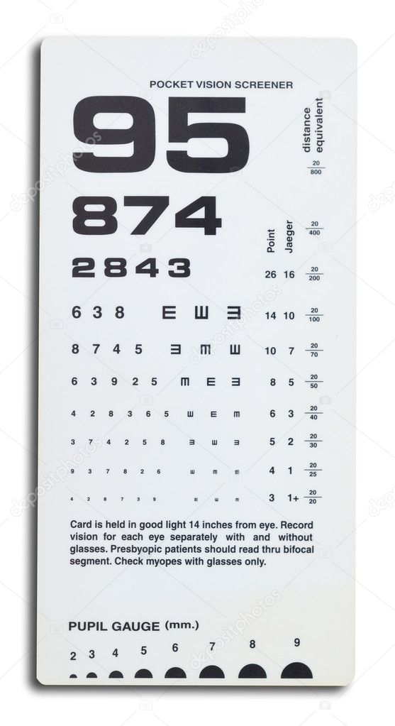 Close uo of near vision card test on white background. — Stock Photo #7293231