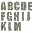 ALL font made from banknote tiles — Stock Photo