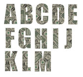 ALL font made from banknote tiles — Stock fotografie