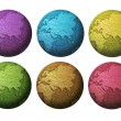 Stock Photo: Six colorful globe