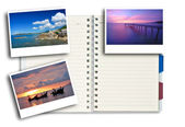 Photo frames on note pad — Stock Photo
