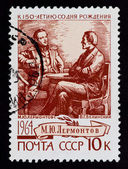 Postal stamp. M. Yu. Lermontov, V. G. Belinskii, 1964 — Stock Photo