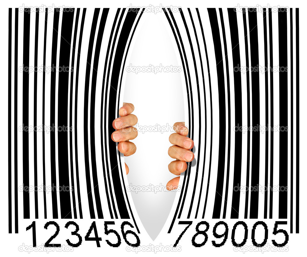 Big bar code torn apart in the middle by two hands - Consumerism concept  Stock Photo #6969263