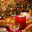 Foto Stock: Christmas table set