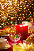 Christmas table set — Stock Photo