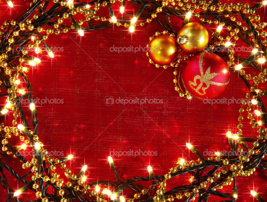 Christmas frame with decorative lights and red and yellow balls — Stock Photo #7609269